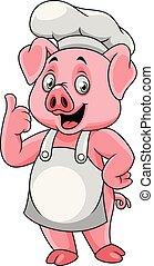 tommelfinger, opgivelse, gris, køkkenchef, cartoon, glade