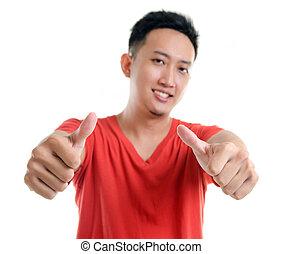 tommelfinger oppe, unge, sydøst asian, køle, mand