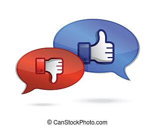 tommelfinger, snakker, og, kommunikation, oppe, derned,...