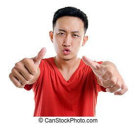 tommelfingre oppe, unge, sydøst asian, mand