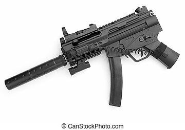 tommy gun. submachine gun on a white background
