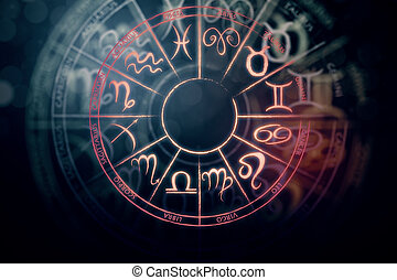 Tomorrow concept - Zodial sign horoscope cirlce on dark...