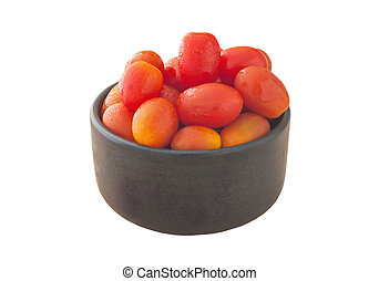Tomoto fruit in a black bowl isolated, Clipping path