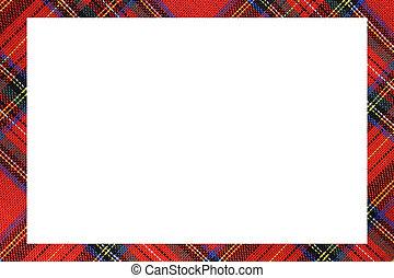 tomrum inrama, skriva, skotska språket, tartan, vit, typ, meddelande
