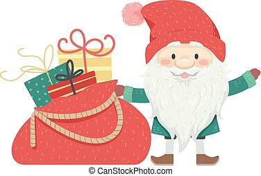 tomte, gaver, jul, illustration, mand
