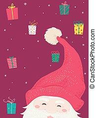 tomte, gaver, jul, illustration