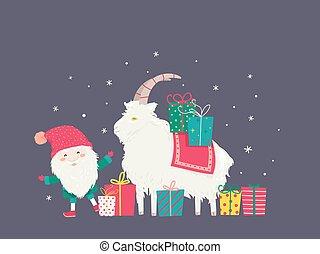 tomte, jul, goat, illustration, mand