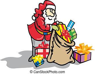 Tomte med s?ck full av julklappar