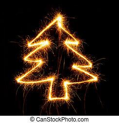 tomtebloss, svart, gjord, träd, jul