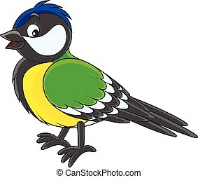 Vector illustration of a titmouse, on a white background