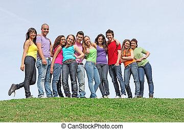 tonåren, mångfaldig, grupp