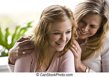 tonårig, dotter, mamma