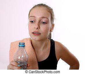 tonårig, efter, vatten buteljera, flicka, sport