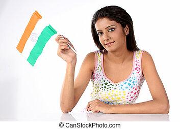 tonårig, flagga, flicka, holdingen