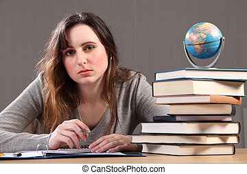 tonårig, hemarbete, flicka studerande, geografi