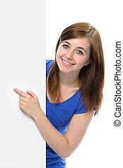 tonårig, henne, pekar, bord, tom, flicka, finger
