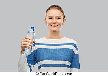tonårig, le, flaska, vatten, flicka