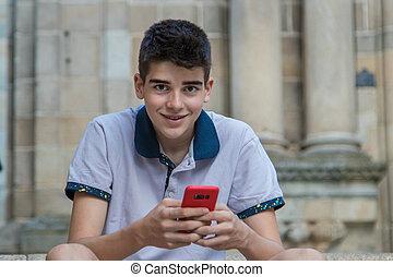 tonårig, ringa, stad, ung, mobil, man