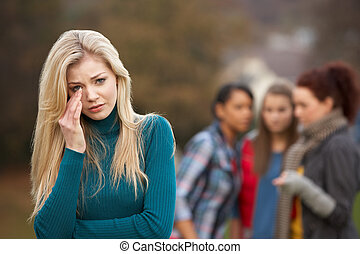 tonårig, rubba, bakgrund, tjattra, flickvänner