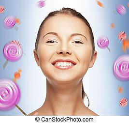 tonårig, sötsaker, flicka, lycklig
