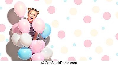 tonårig, skönhet, färgrik, isolerat, luft, flicka, glad, nöje, vit, sväller, ha