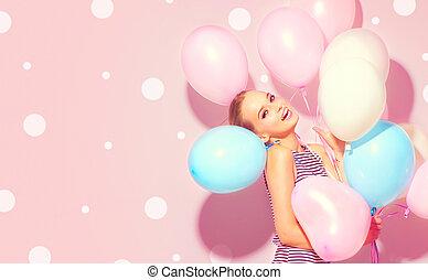 tonårig, skönhet, färgrik, luft, glad, nöje, flicka, sväller, ha