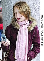 tonårig, text, mobiltelefon, messaging, flicka
