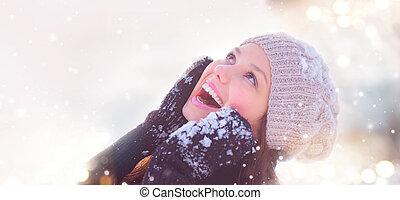 tonårig, vinter, flicka, parkera, ha, portrait., nöje, modell, glad