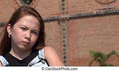 tonåring, avslappnad, flicka