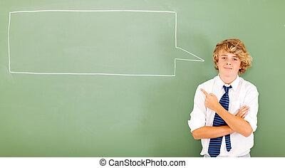 tonåring, boxas, pratstund, pekande, student
