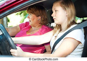 tonåring, chaufför, -, bil olycksfall