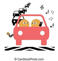 tonåring, chaufför, illustration