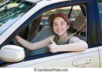 tonåring, chaufför, tummar uppe