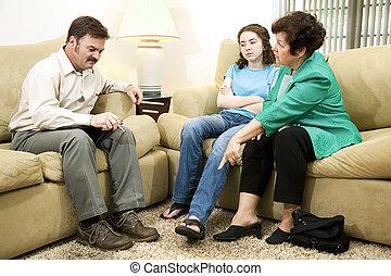 tonåring, embarassed, av, mor