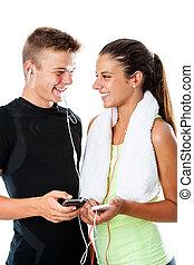 tonåring, fitness, par, med, smart, phones.