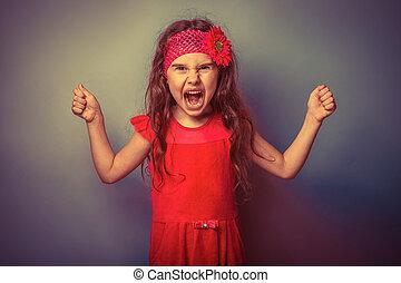 tonåring flicka, av, europe, uppträden, fem, år, ilsket