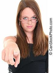 tonåring flicka, glasögon