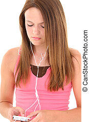 tonåring flicka, hörlurar