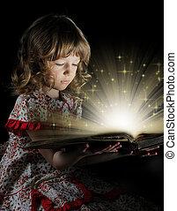tonåring flicka, läsning, den, book.