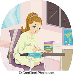 tonåring flicka, lista, resa, illustration