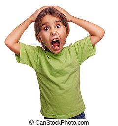 tonåring flicka, rädd, barn, öppnat, henne, mun,...