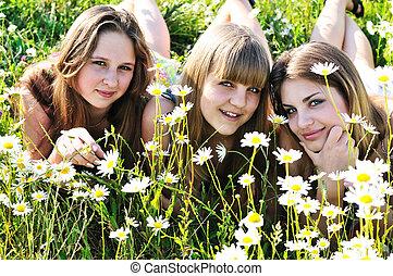 tonåring flickor, lycklig