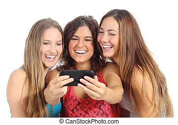 tonåring, flickor, med, smartphone