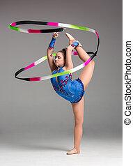 tonåring, gör, gymnastik, dans, med, band
