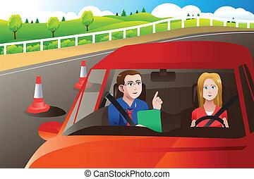 tonåring, in, a, väg, drivande förhör