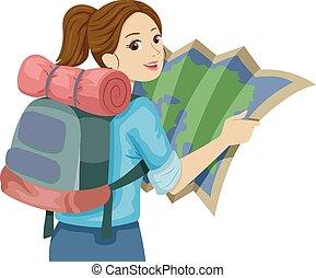 tonåring, karta, flicka led, resa