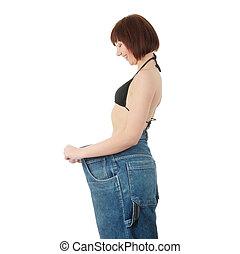 tonåring, kvinna, visande, hur, mycket, vikt, hon, försvunnen
