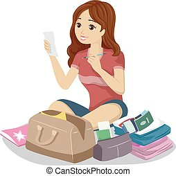 tonåring, läsa, resa, lista, flicka, kontroll