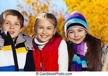 tonåring, le, lurar, tre, lycklig