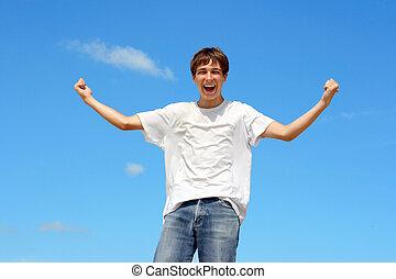 tonåring, lycklig